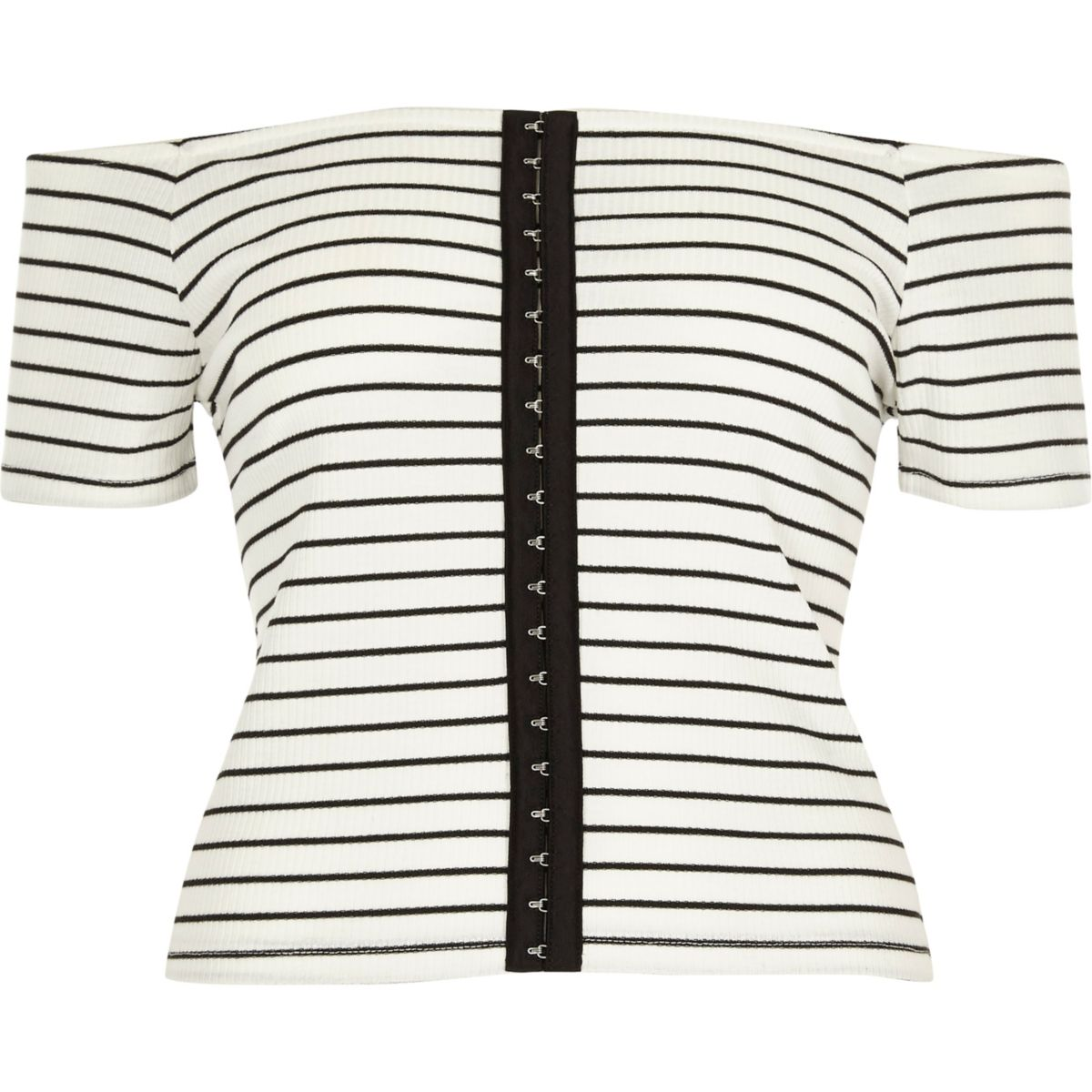 White stripe bardot hook and eye top