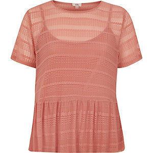 Blush pink open lace peplum hem top