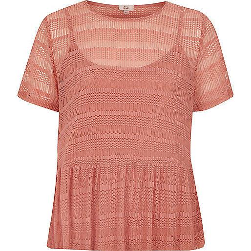 Blush pink open lace peplum hem top