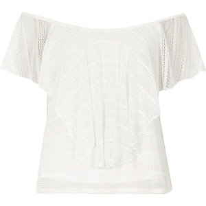 Cream frill overlay bardot top