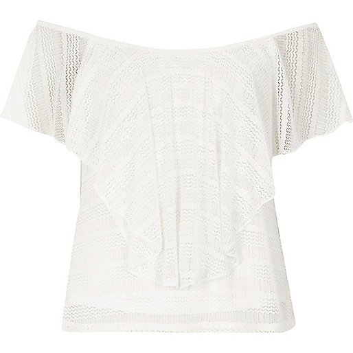 Cream frill overlay bardot top
