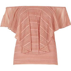 Pink frill open mesh bardot top