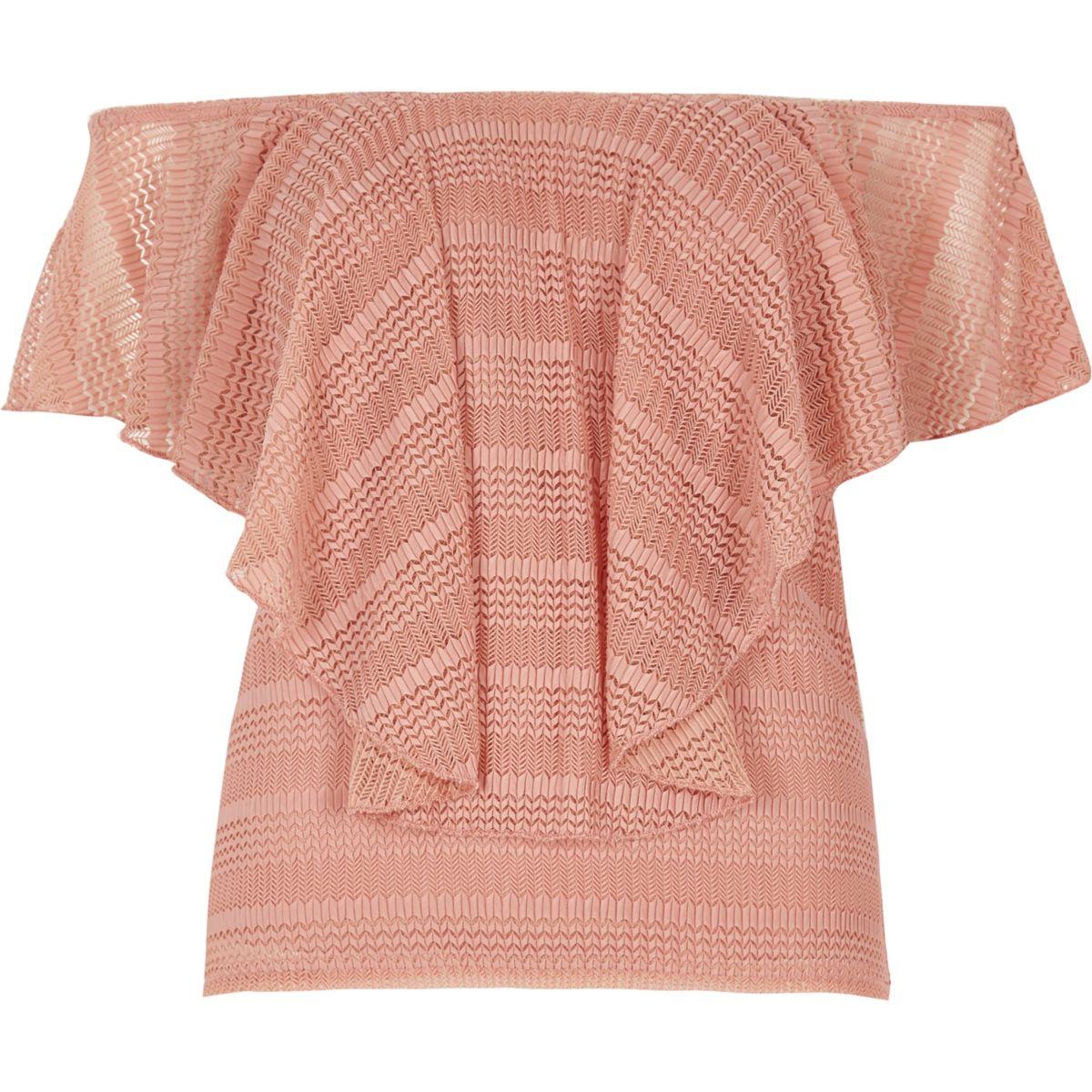 Pinkes Bardot-Oberteil mit Mesh-Einsatz