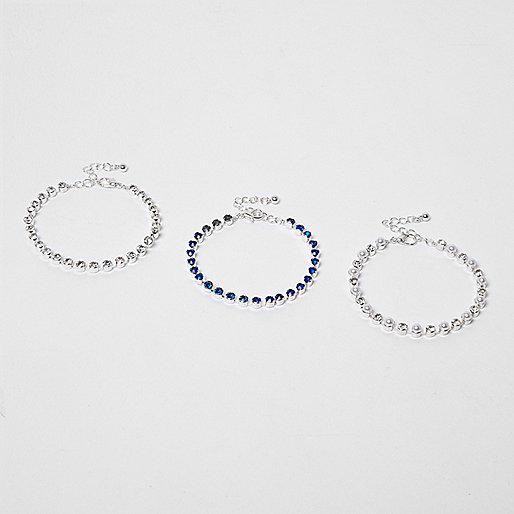Silver and blue cupchain bracelet pack