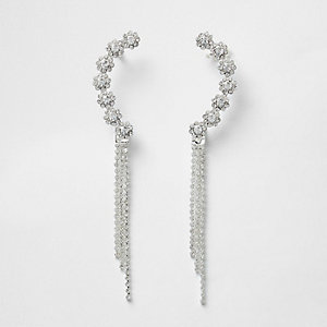 Silver tone diamante dangle cuff earrings
