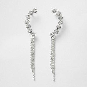 Silver tone rhinestone dangle cuff earrings