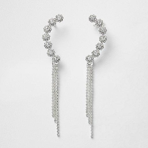 Silver tone diamante dangle cuff earrings