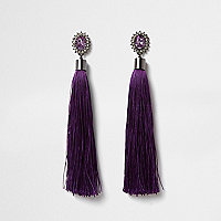 Purple diamante tassel drop earrings