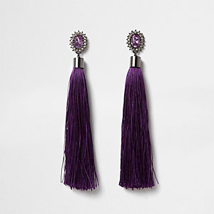 Pendants d'oreilles violets ornés de strass et de pampilles