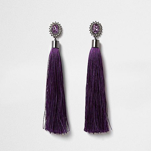 Purple rhinestone tassel drop earrings