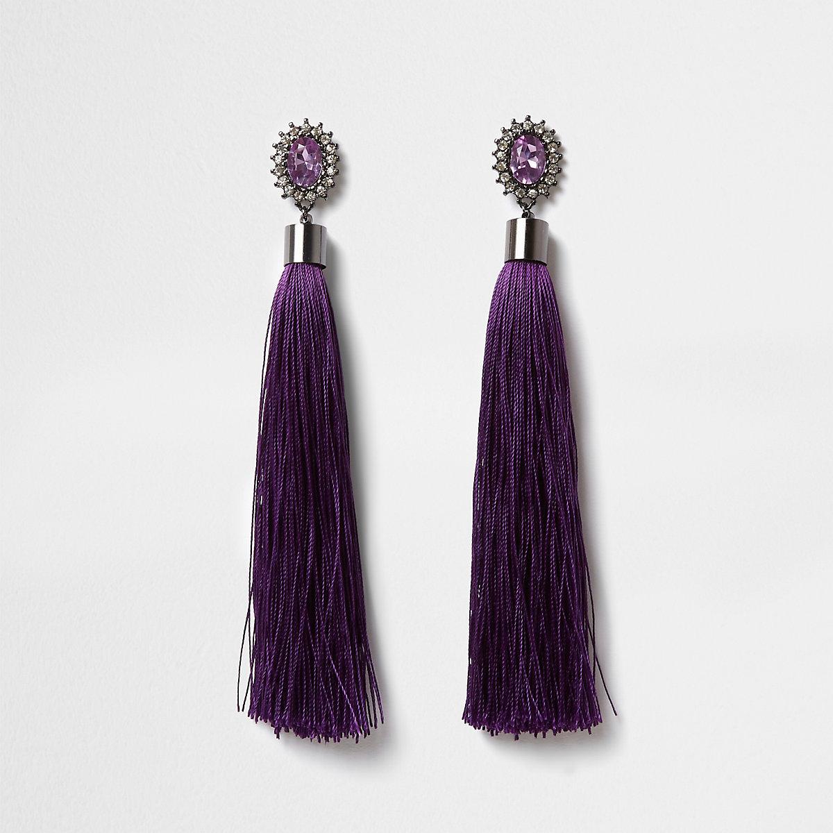 Purple diamante tassel drop earrings