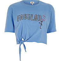Blue 'fabulous' knot front cropped T-shirt