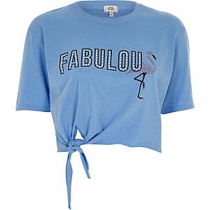 Blauw cropped T-shirt met geknoopte voorkant en 'fabulous'-print