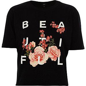 T-shirt court imprimé noir ouvert dans le dos à volants