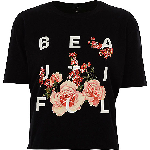 Black print ruffle open back cropped T-shirt