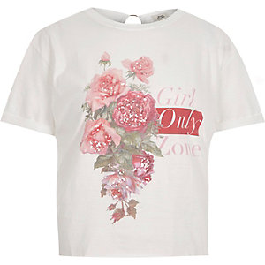 T-shirt blanc avec imprimé « girl zone » au dos