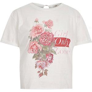 Wit T-shirt met 'Girl zone'-print en ring op de rug