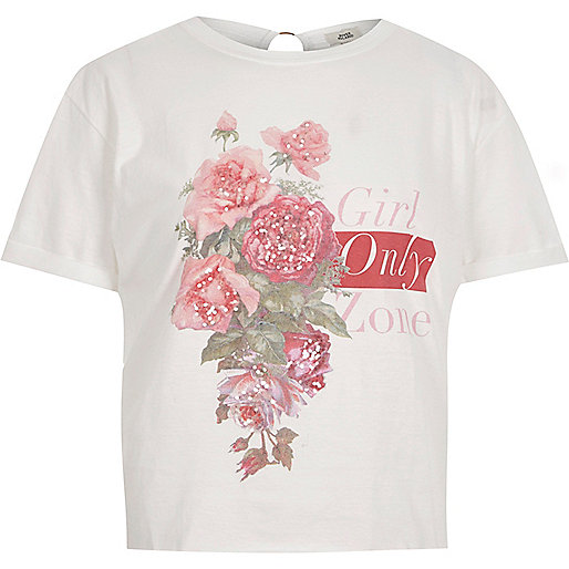 White 'girl zone' print ring back T-shirt