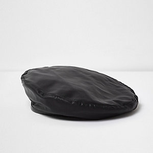 Black faux leather trim beret