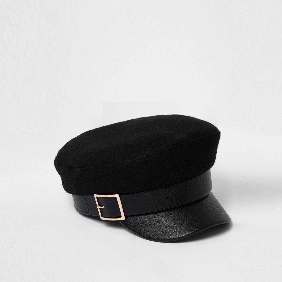 Black gold buckle baker boy hat