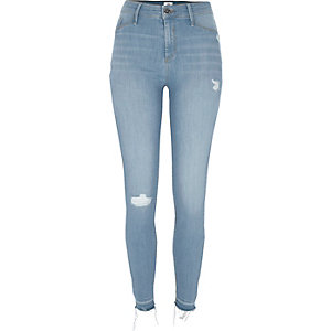 Molly - Middenblauwe distressed skinny jegging