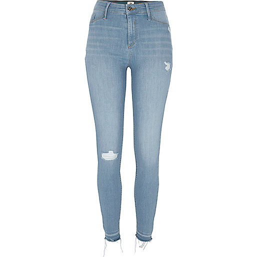 Mid blue Molly distressed skinny jeggings