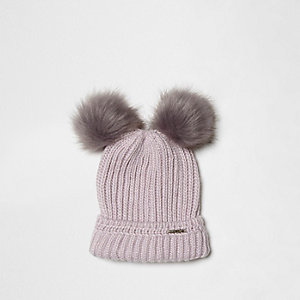 Light purple double pom pom beanie hat