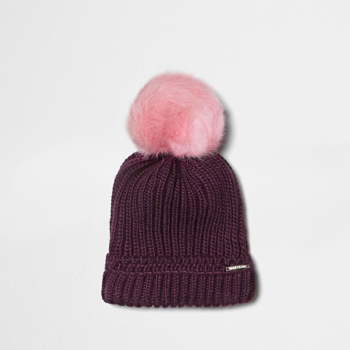 Burgundy faux fur bobble beanie hat