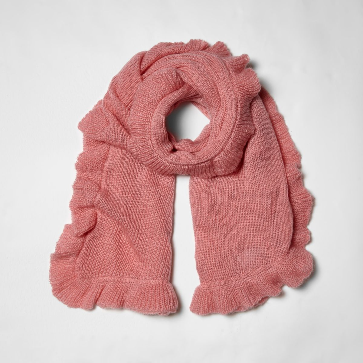 Pink frill trim knitted scarf