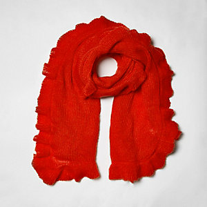 Red frill trim knitted scarf