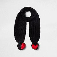 Black heart pom pom knit scarf