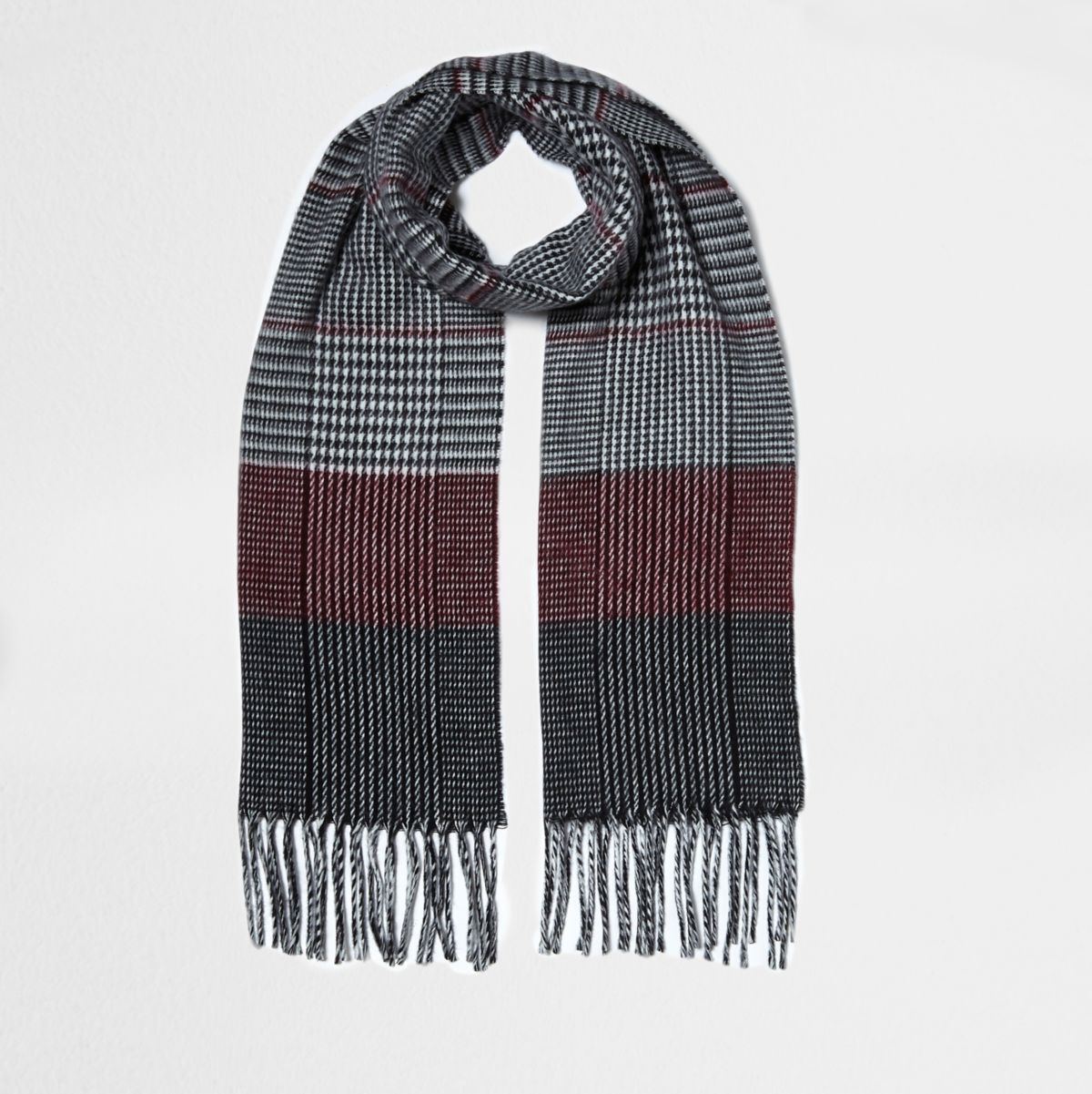 Black and oxblood check scarf