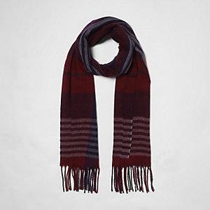 Dark red check scarf