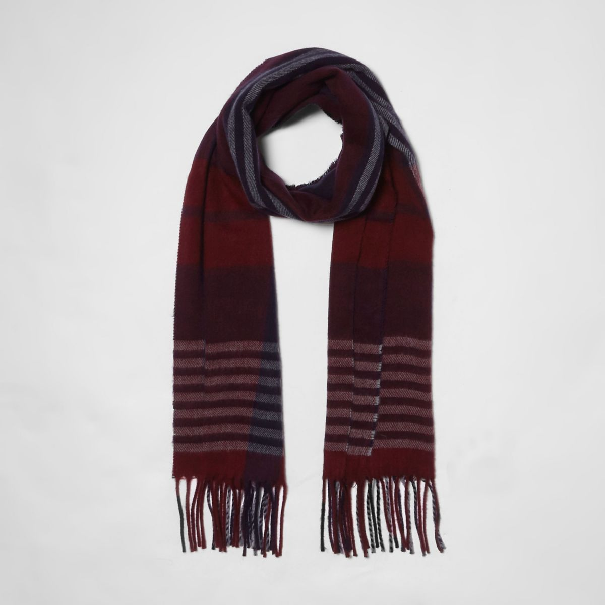 Dark red check scarf