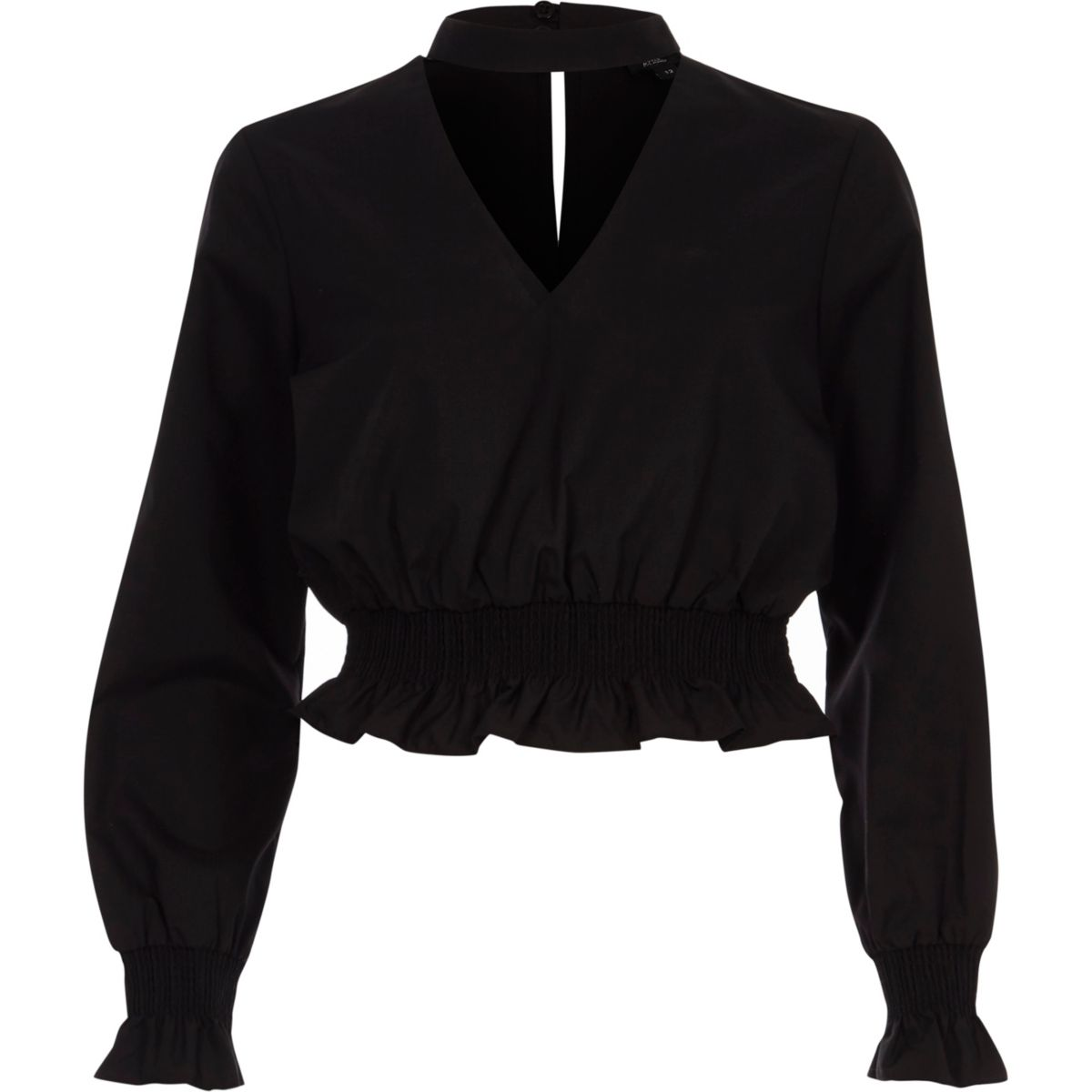 Black shirred frill waist choker top