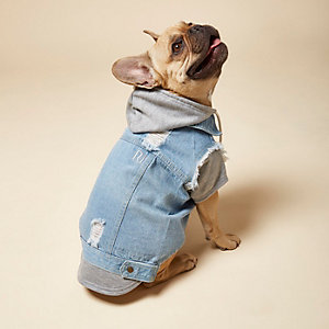 RI Dog – Sweat à capuche en jean bleu clair