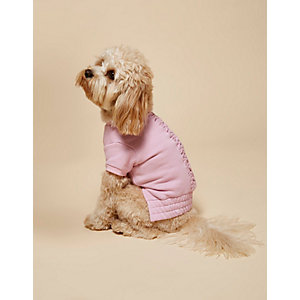 RI Dog pink ruched jersey top