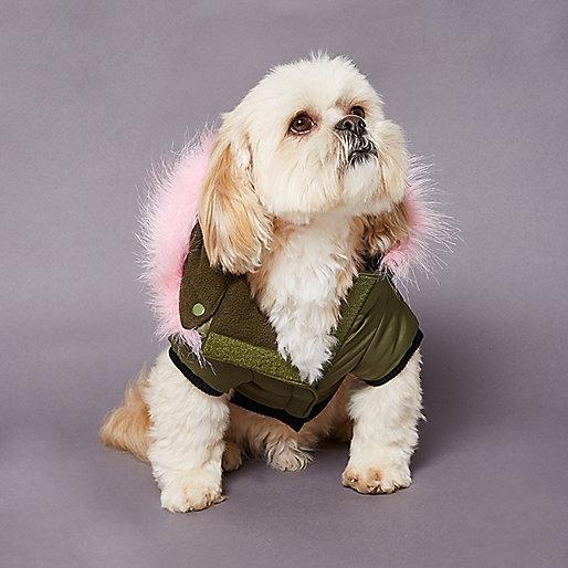 RI Dog khaki pink faux fur parka