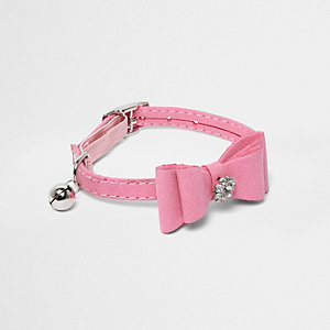 RI Cat pink diamante bow collar