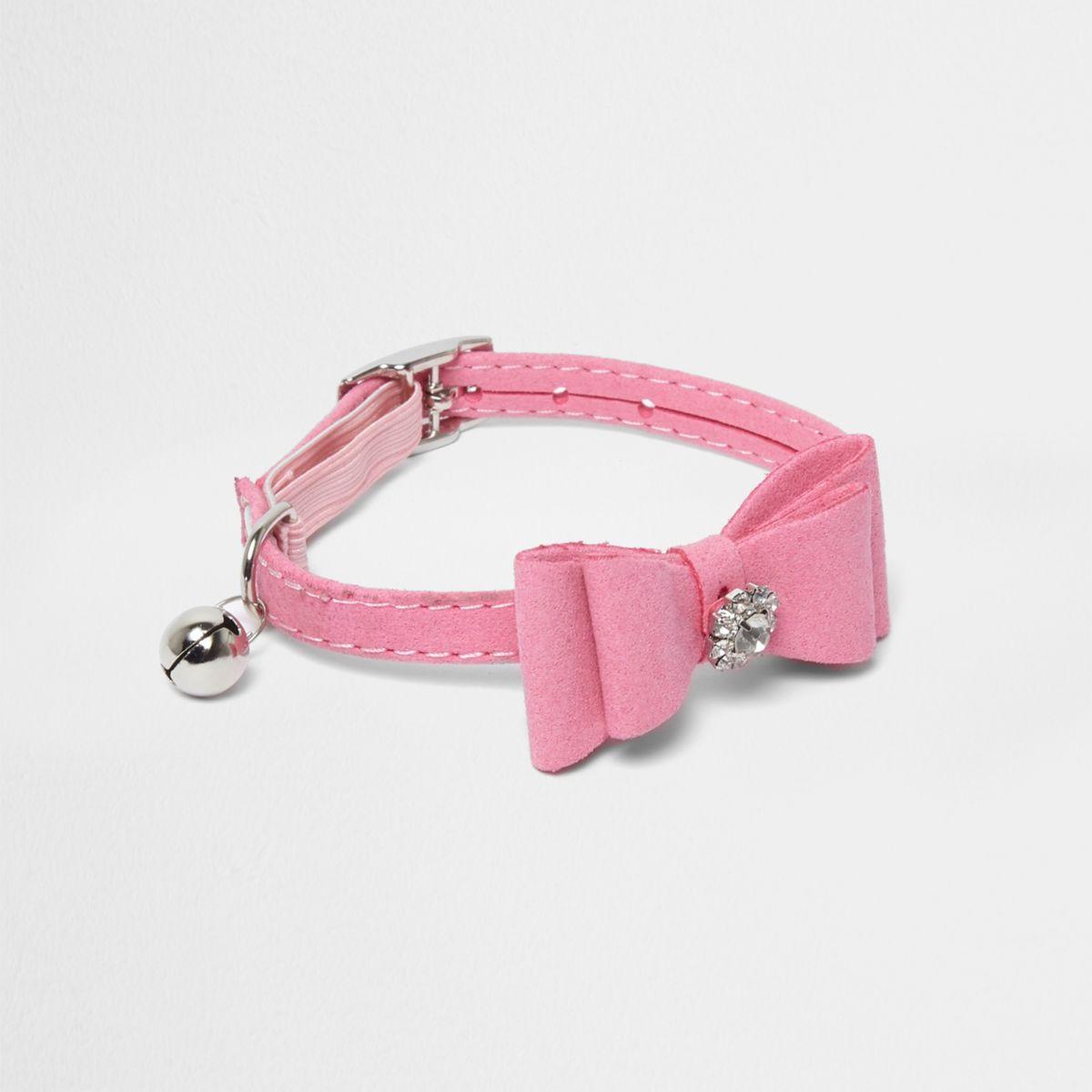 RI Cat pink rhinestone bow collar