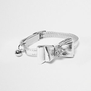 RI Cat silver metallic rhinestone bow collar