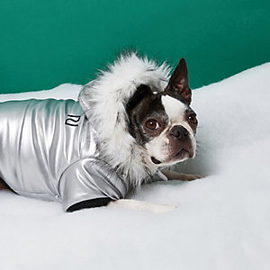 RI Dog silver metallic faux fur trim parka