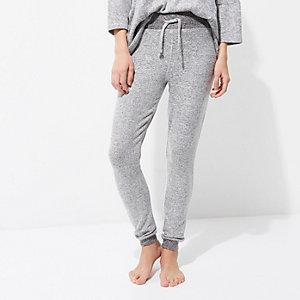 Lichtgrijze gebreide pyjamabroek