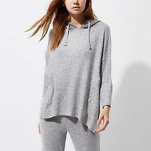 Lichtgrijze gebreide pyjamatop met capuchon