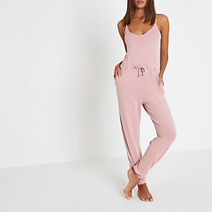 Light pink drawstring waist jersey jumpsuit