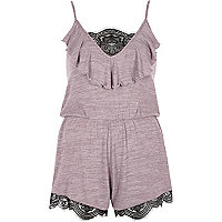 Purple lace insert knit romper