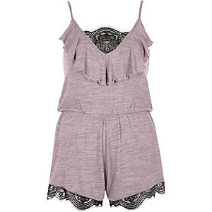 Purple lace insert knit playsuit