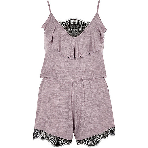 Purple lace insert knit playsuit