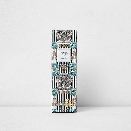 Mono stripe and chain design pencil set