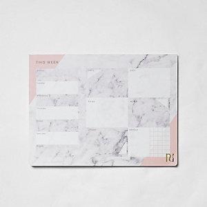 Grijze A4 bureaubladplanner met marmerprint